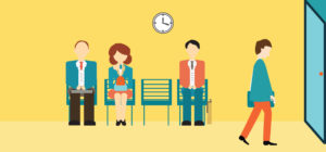 Business people sitting and waiting for interview, recruitment concept, vector, illustration.